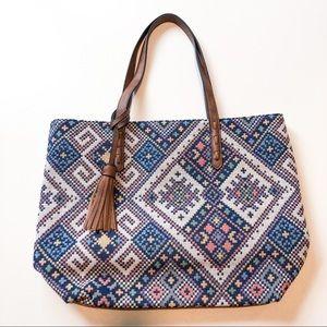 Bueno Blue White Textile Tote Bag